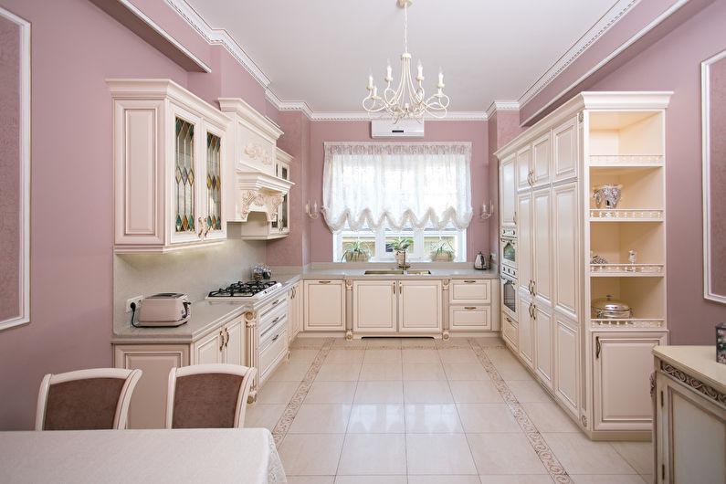 Дизайн кухни в стиле классики в пастельных оттенках