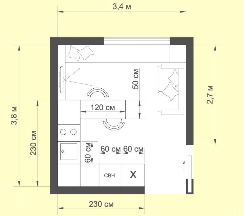 Схема размещения мебели и техники на кухне площадью в 12 кв метров