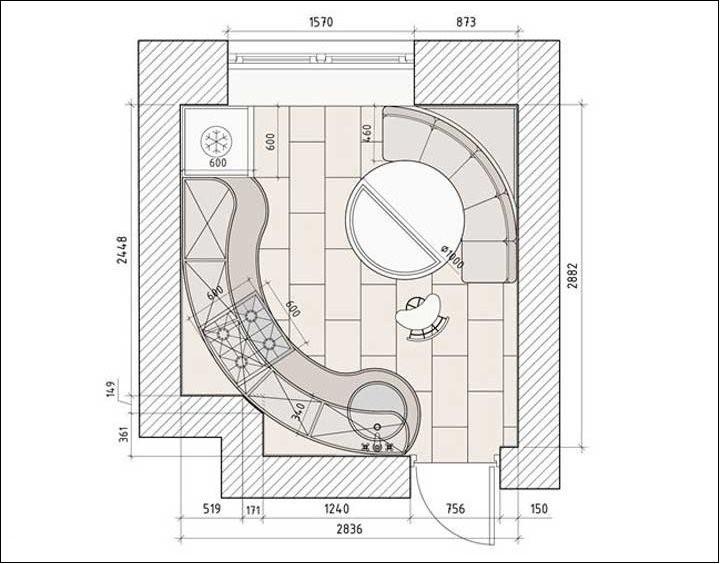 Схема планировки квадратной кухни площадью около 9 кв метров