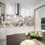 Мозаичный фартук в современной кухне