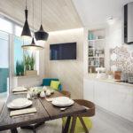 Деревянный стол на кухне с балконом