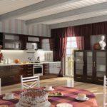 Просторная кухня с потолочными балками с гарнитуром венге