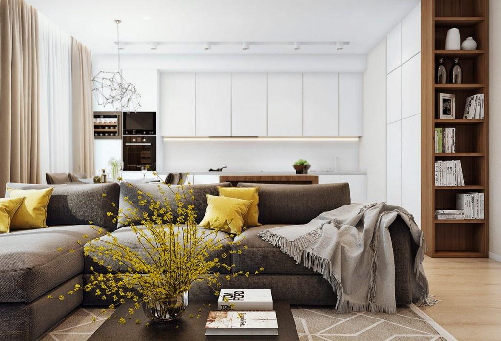 Дизайн светлой кухни-гостиной