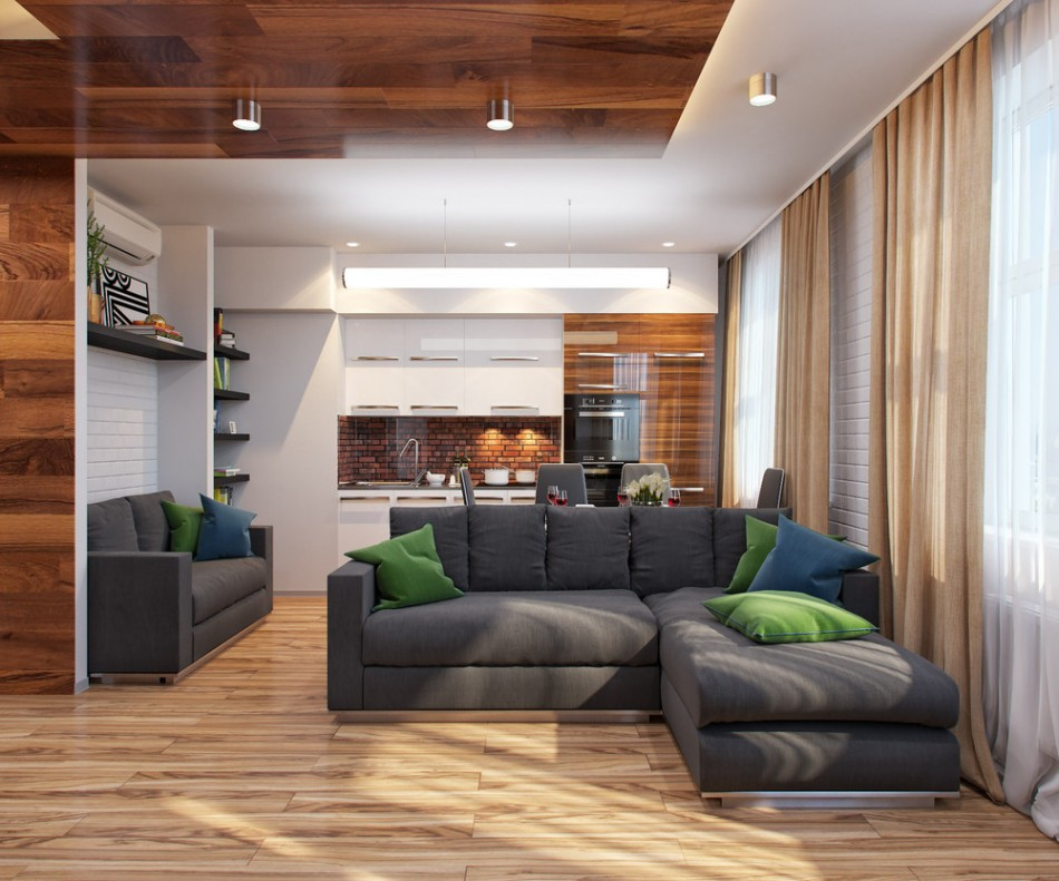 Серый диван в спальне-гостиной