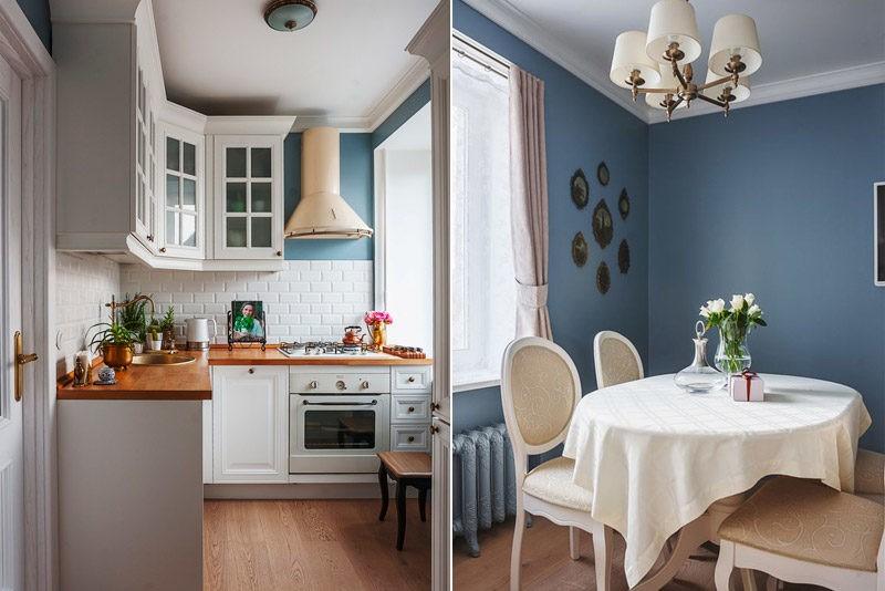 Светло синие стены в классическом интерьере