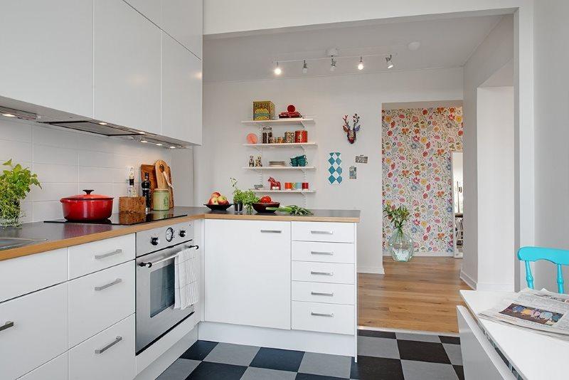 Интерьер кухни частного дома в скандинавском стиле
