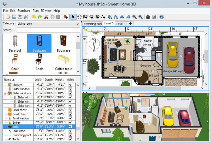 Скриншот окна программы Sweet Home 3D