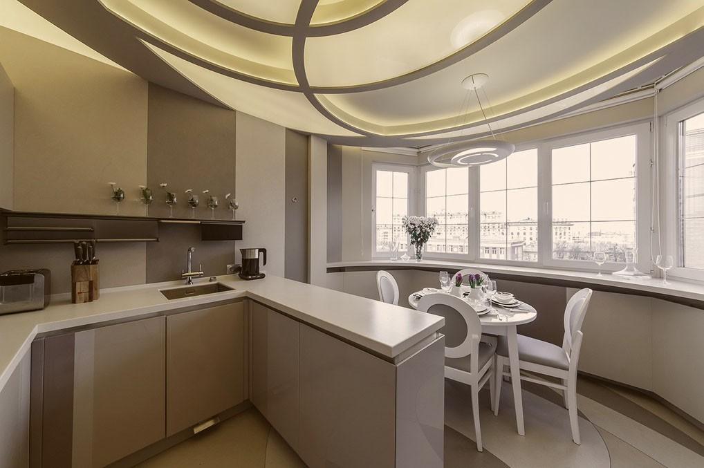 Барная стойка вместо подоконника после объединения кухни с балконом