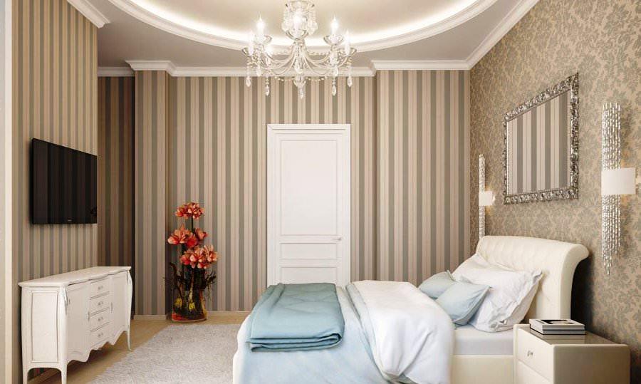 Сочетание разных обоев в спальне в стиле арт-деко