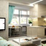 Стол на балконе для отделения зоны в кухне-гостиной