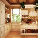 Светлая просторная кухня в деревенском стиле