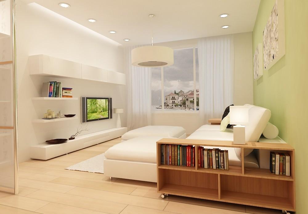 Светлая спальня-гостиная в стиле минимализма