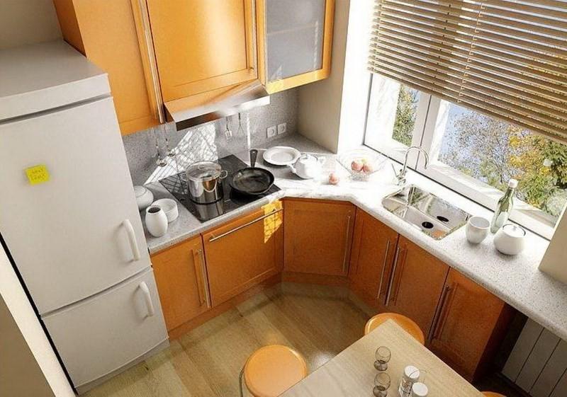 Г-образная планировка современной кухни в квартире многоэтажного дома