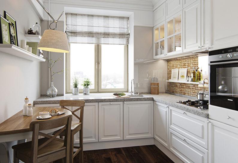 Угловая планировка кухни с задействованием пространства под окном
