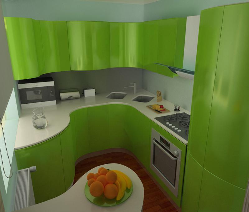 Зеленый кухонный гарнитур в интерьере кухни хрущевки
