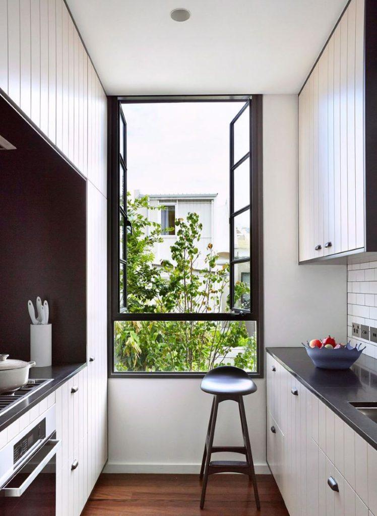 Дизайн узкой кухни 5 кв метров с параллельной планировкой