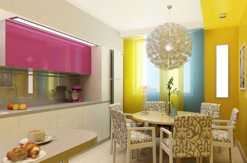 Интерьер кухни в ярких тонах