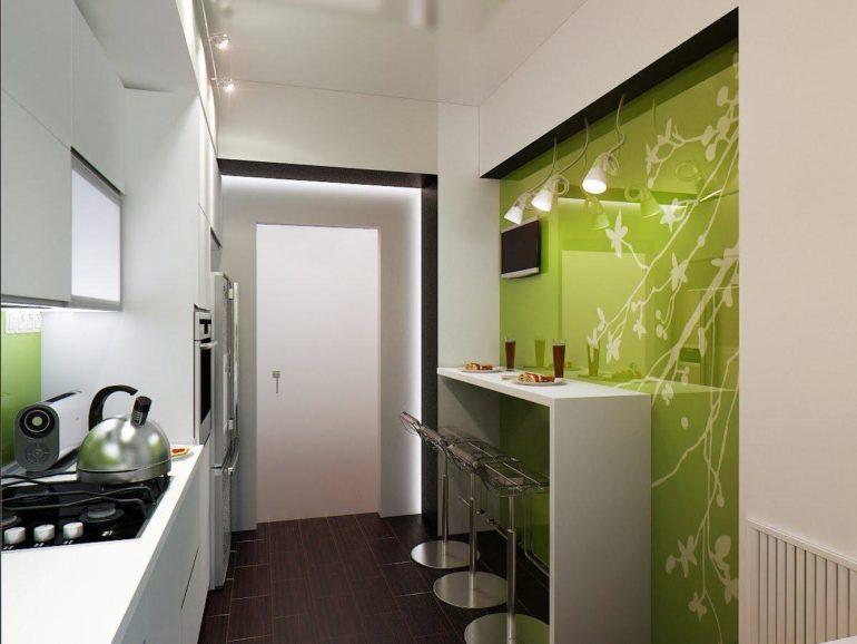 Узкая барная стойка в интерьере маленькой кухни